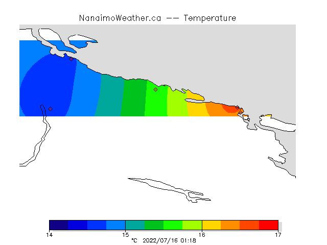 Current temperatures on mid Vancouver Island.